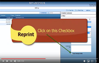 How to take print for multiple bill print in reprint screen